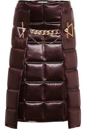 Bottega Veneta Matelassé embellished satin skirt