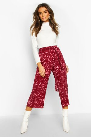 Boohoo Womens Belted Woven Polka Dot Culottes - - 8