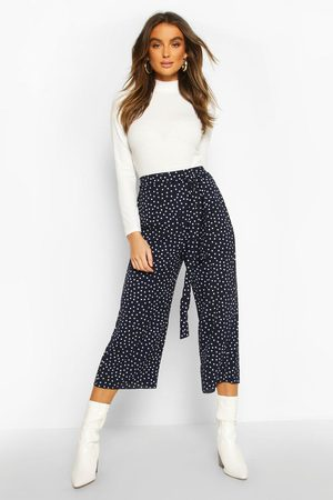 Boohoo Womens Belted Woven Polka Dot Culottes - - 4