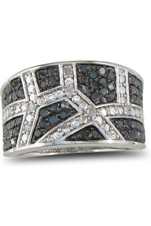 SuperJeweler Women Rings - .85 Carat Black & Diamond Wide Wedding Band Ring