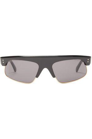 Celine Eyewear Browline Rectangular Acetate And Metal Sunglasses - Mens