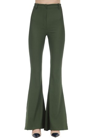 HEBE STUDIO Bianca Flared Viscose Blend Cady Pants