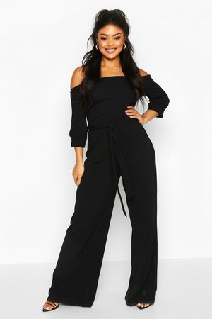 Boohoo Womens Plus Off Shoulder Tailored Self Belt Jumpsuit - - 12