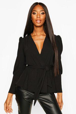 Boohoo Womens Puff Sleeve Wrap Blouse - - 2