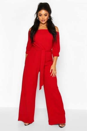 Boohoo Womens Plus Off Shoulder Tailored Self Belt Jumpsuit - 12
