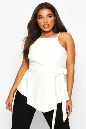 Boohoo Womens Plus Crepe Tie Front Asymmetric Top - - 12