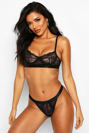 Boohoo Women Thongs - Womens Spot Mesh & Lace Bralet & Thong Set - - S