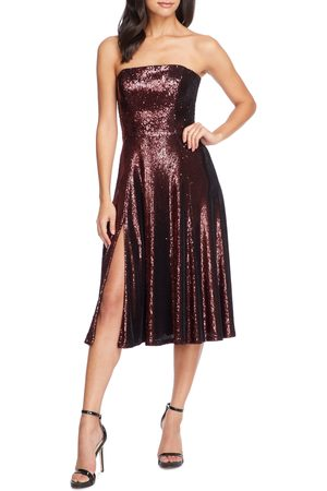 Dress The Population Women's Ruby Strapless Sequin Party Dress