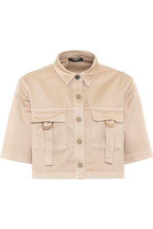 Balmain Women Shirts - Cropped stretch-cotton shirt