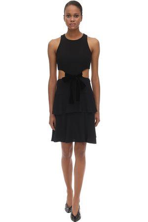 Proenza Schouler Acetate Blend Crepe Mini Dress W/cut Out