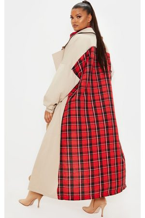 PRETTYLITTLETHING Plus Stone Contrast Panel Trench Coat