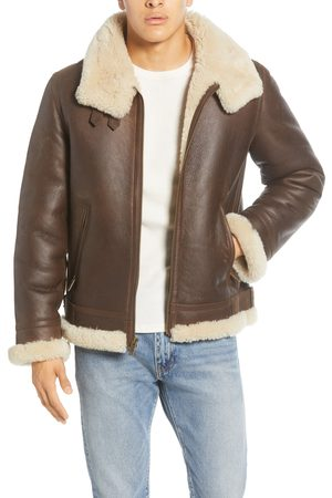 UGG Men's UGG Auden Genuine Shearling Trim Leather Aviator Jacket