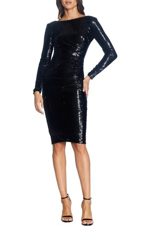 Dress The Population Women's Emilia Sequin Long Sleeve Cocktail Dress