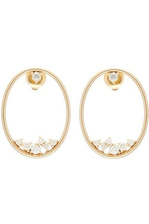 Mizuki Diamond & Gold Hoop Earrings - Womens - Pearl
