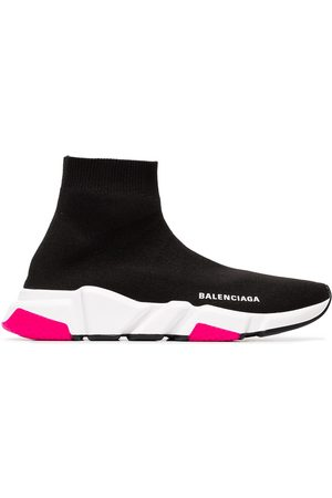 Balenciaga White and pink speed knitted high top sneakers