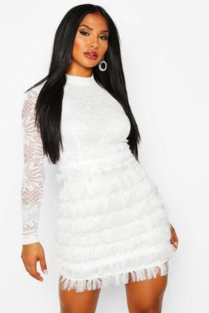 Boohoo Womens Lace Fringe High Neck Mini Dress - - 10