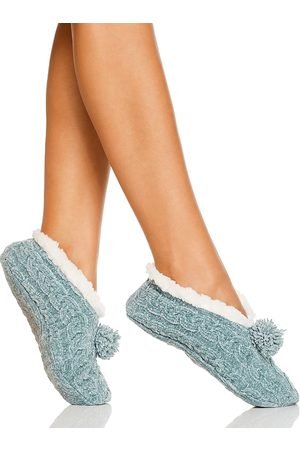 Cejoli Cable Knit Chenille Pom-Pom Slippers