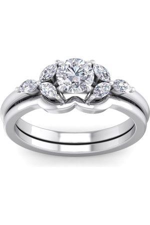 SuperJeweler 1 Carat Round & Marquise Diamond Bridal Ring Set in 14K (5 g) (