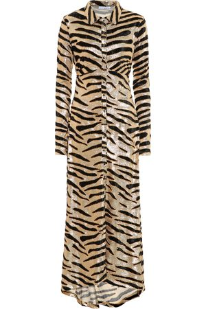 Paco rabanne Tiger-print velvet shirtdress