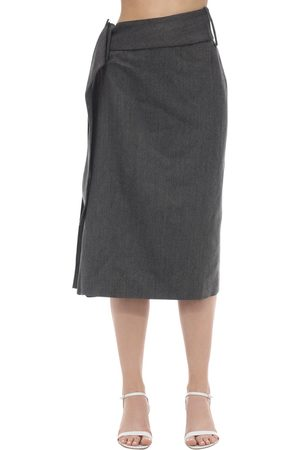 Rokh Women Midi Skirts - Side Pleated Wool Blend Midi Skirt