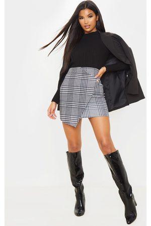 PRETTYLITTLETHING Monochrome Check Wrap Mini Skirt