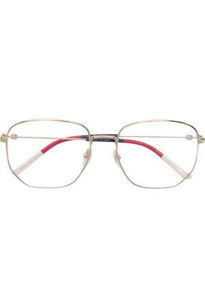 Gucci Web detail hexagonal-frame glasses - Metallic