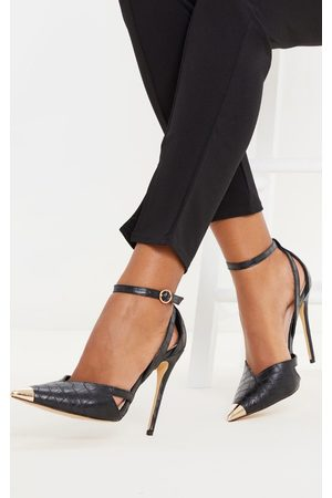 PRETTYLITTLETHING Cut Out Heel Metal Toe Court Shoe