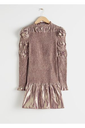 & OTHER STORIES Smocked Metallic Mini Ruffle Dress