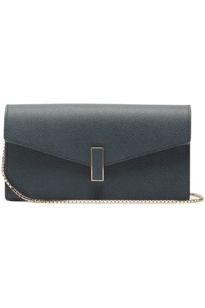 VALEXTRA Iside Grained Leather Clutch - Womens - Navy