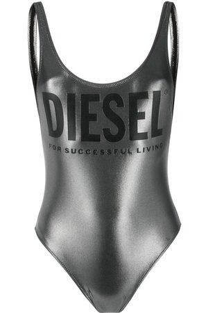 Diesel Metallic finish logo detail swimsuit