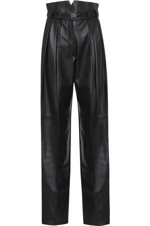 Fendi High-rise leather straight pants