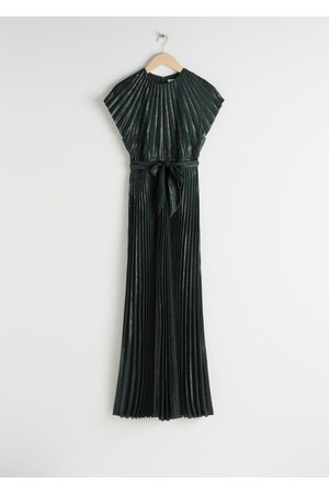 & OTHER STORIES Metallic Pleated Maxi Dress