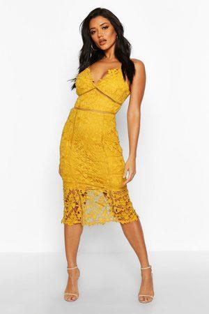 Boohoo Womens Lace Panelled Open Back Midi Dress - - 4