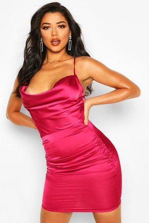Boohoo Womens Florence Satin Cowl Neck Bodycon Dress - - 4