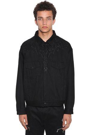 MARCELO BURLON Embroidered Wings Cotton Denim Jacket