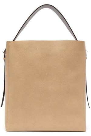 VALEXTRA Medium Grained Leather Tote Bag - Womens - Grey