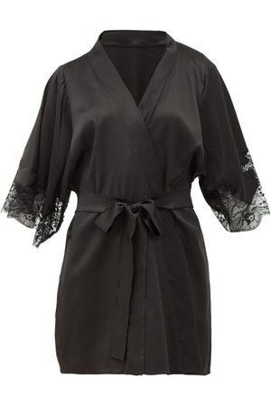 Fleur Of England Lace-insert Silk-blend Robe - Womens