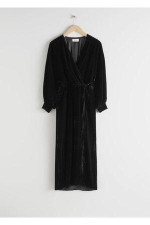 & OTHER STORIES Velvet Side Slit Midi Dress