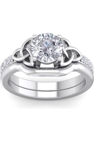 SuperJeweler 1 Carat Round Diamond Claddagh Bridal Ring Set in (5 g) (