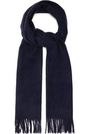 Raey Fringed Wool Blend Scarf - Womens - Navy