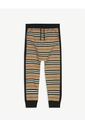 Burberry Boys Accessories - Lance Icon stripe cotton jogging bottoms 3-14 years