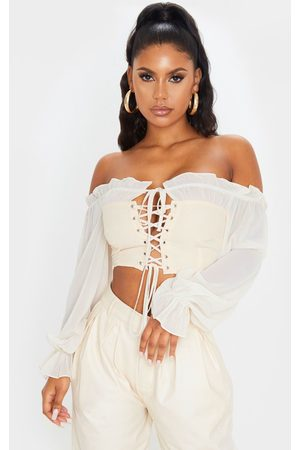 PRETTYLITTLETHING Nude Cropped Lace Front Long Sleeve Blouse