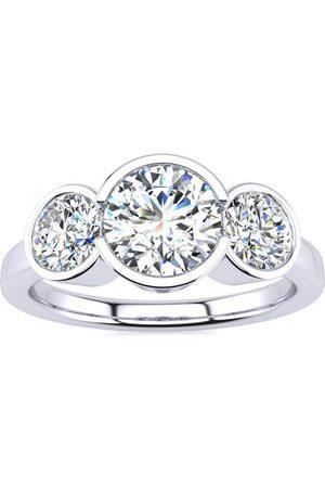 SuperJeweler Women Rings - 2 1/4 Carat Bezel Set Three Stone Moissanite Ring in 14K (4 g)