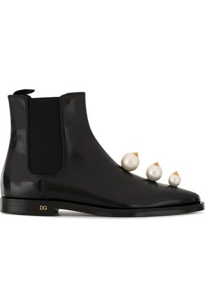 Dolce & Gabbana Faux pearl-embellished Chelsea boots