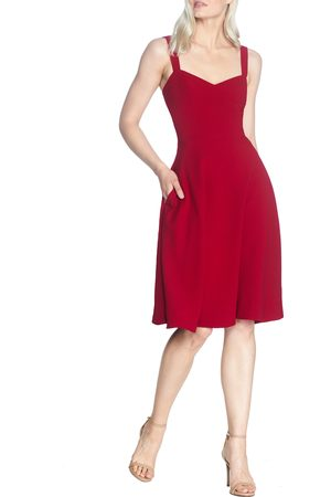 Dress The Population Women's Alina Crepe Fit & Flare Cocktail Dress