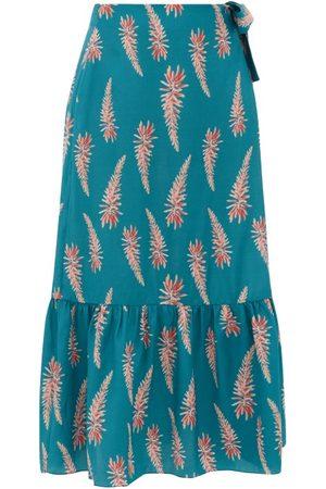 Adriana Degreas Aloe Print Silk Crepe Wrap Midi Skirt - Womens - Print