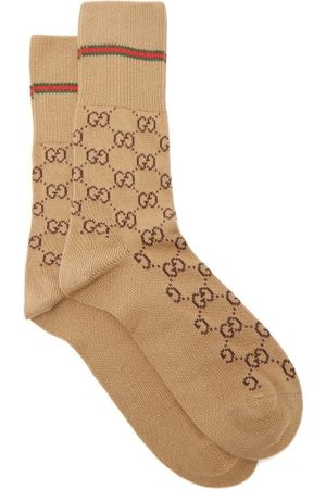 Gucci GG Supreme-intarsia Cotton-blend Socks - Mens - Camel