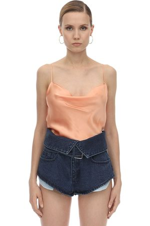 MARQUES'ALMEIDA Draped Silk Satin Slip Top