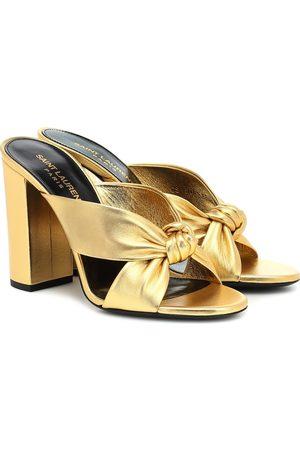 Saint Laurent Loulou 100 metallic leather sandals