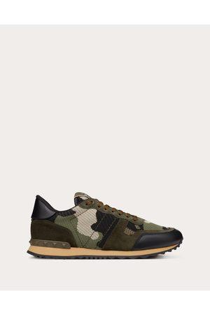 VALENTINO GARAVANI Mesh Fabric Camouflage Rockrunner Sneaker Man Military Calfskin 100% 39